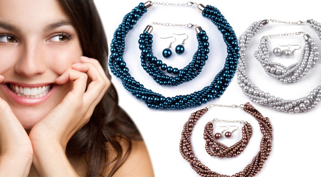 Trendy sada šperkov z voskovaných perál - náhrdelník, náušnice a náramok