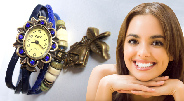 Dámske náramkové hodinky vo výnimočnom VINTAGE štýle s príveskom motýľa alebo ruže