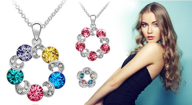 Bohato zdobený set šperkov v tvare kruhu s kryštálmi b04e876a321