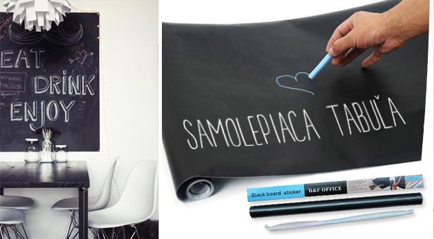 Fotka zľavy: Funkčná a originálna dekorácia pre vašu domácnosť len za 4,90€. Samolepiaca tabuľa na odkazy, poznámky i obrázky vašich ratolestí, ktoré môžu vzhľad steny meniť niekoľkokrát za deň.