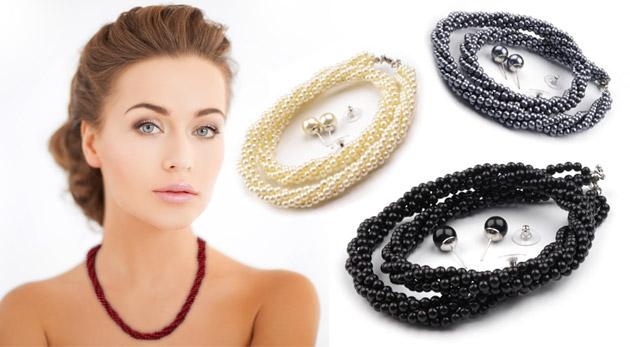 Trblietavá sada šperkov z voskovaných perál - náhrdelník a náušnice
