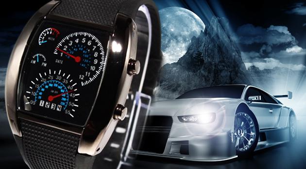 Moderné binárne LED hodinky Rider s motívom budíkov pretekárskeho automobilu