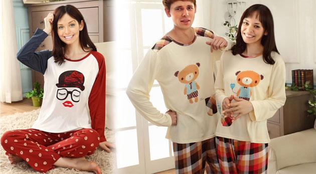 Milé pyžamá s rovnakým vzorom pre páry