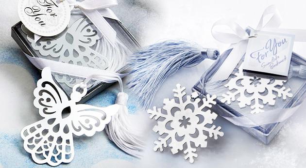 Krásne štýlové záložky do knihy - na výber z motívov snehovej vločky, anjela a husľového kľúča