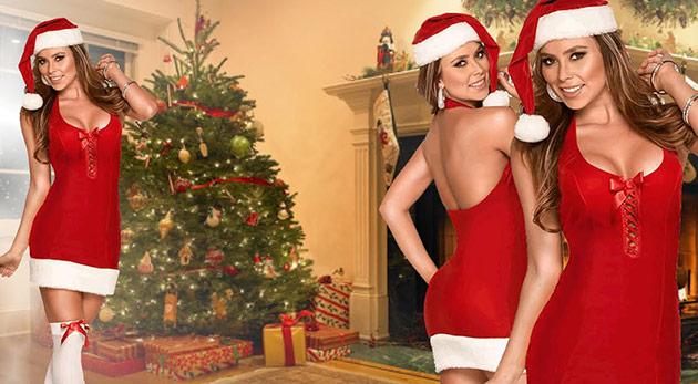 Vianočný sexi kostým Santa Lady pre dámy, ktoré chcú byť samy darčekom