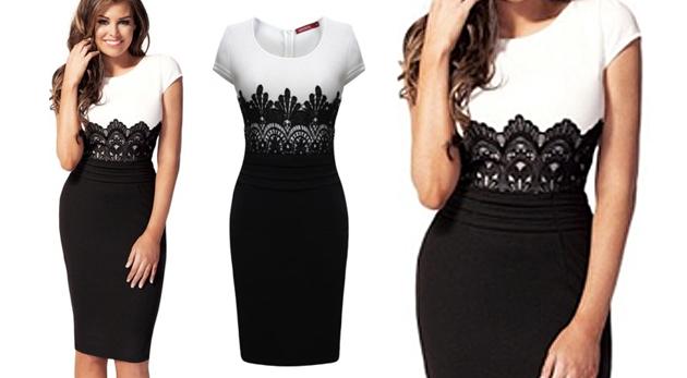 212514a1e839 Dámske elegantné šaty s čipkou čiernobielej farby