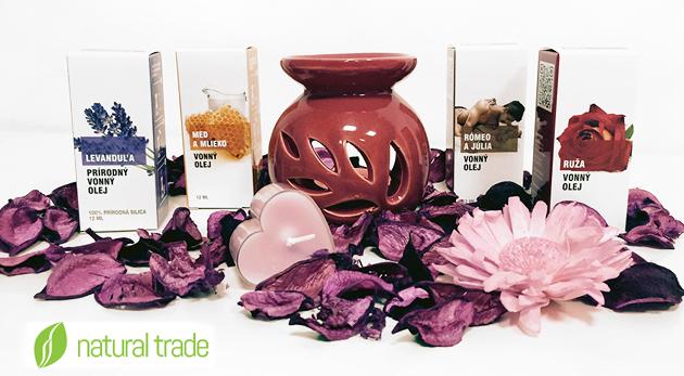 Balíček s lupeňmi kvetov, vonnými olejčekmi či sviečkami pre ideálny večer vo dvojici