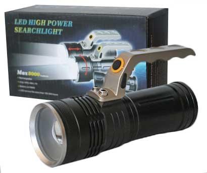 Led baterka s rúčkou a funkciou zoom, 2 nabíjateľné baterky, nabíjačka na 230V, kazeta pre 2 batérie, autonabíjačka (starší typ)
