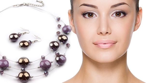 Metalízová sada šperkov: náhrdelník a náramok s ozdobami zo skla a plastu