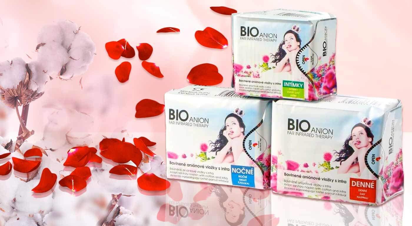 Hygienické menštruačné vložky značky BIOanión na prírodnej báze