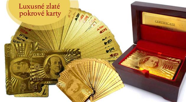 Zlaté pokrové karty s luxusným boxom z čerešňového dreva