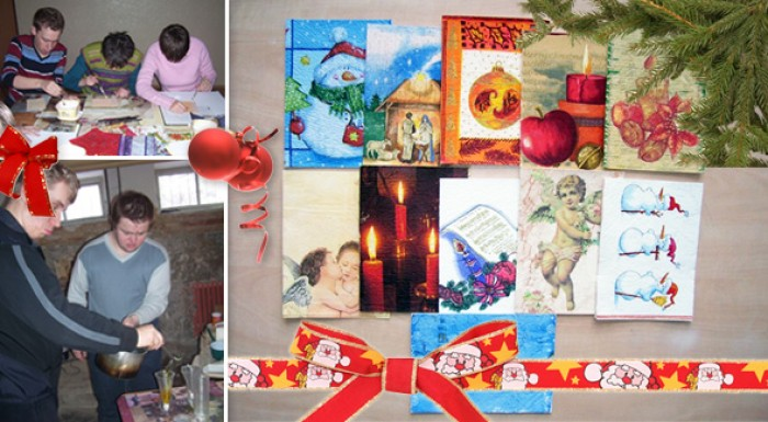 Vianočné a novoročné ručne vyrábané pozdravy od ťažko zdravotne postihnutých detí.
