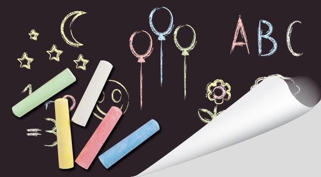 Praktická samolepiaca tabuľa s kriedami na písanie a kreslenie - ocenia deti i dospelí
