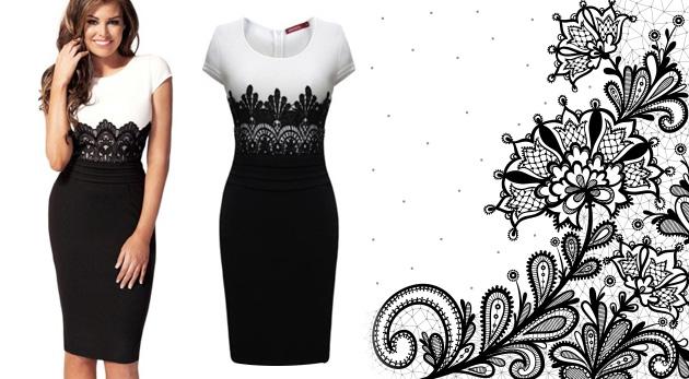 Elegantné a rafinované čiernobiele šaty s čipkou 819d58f7040