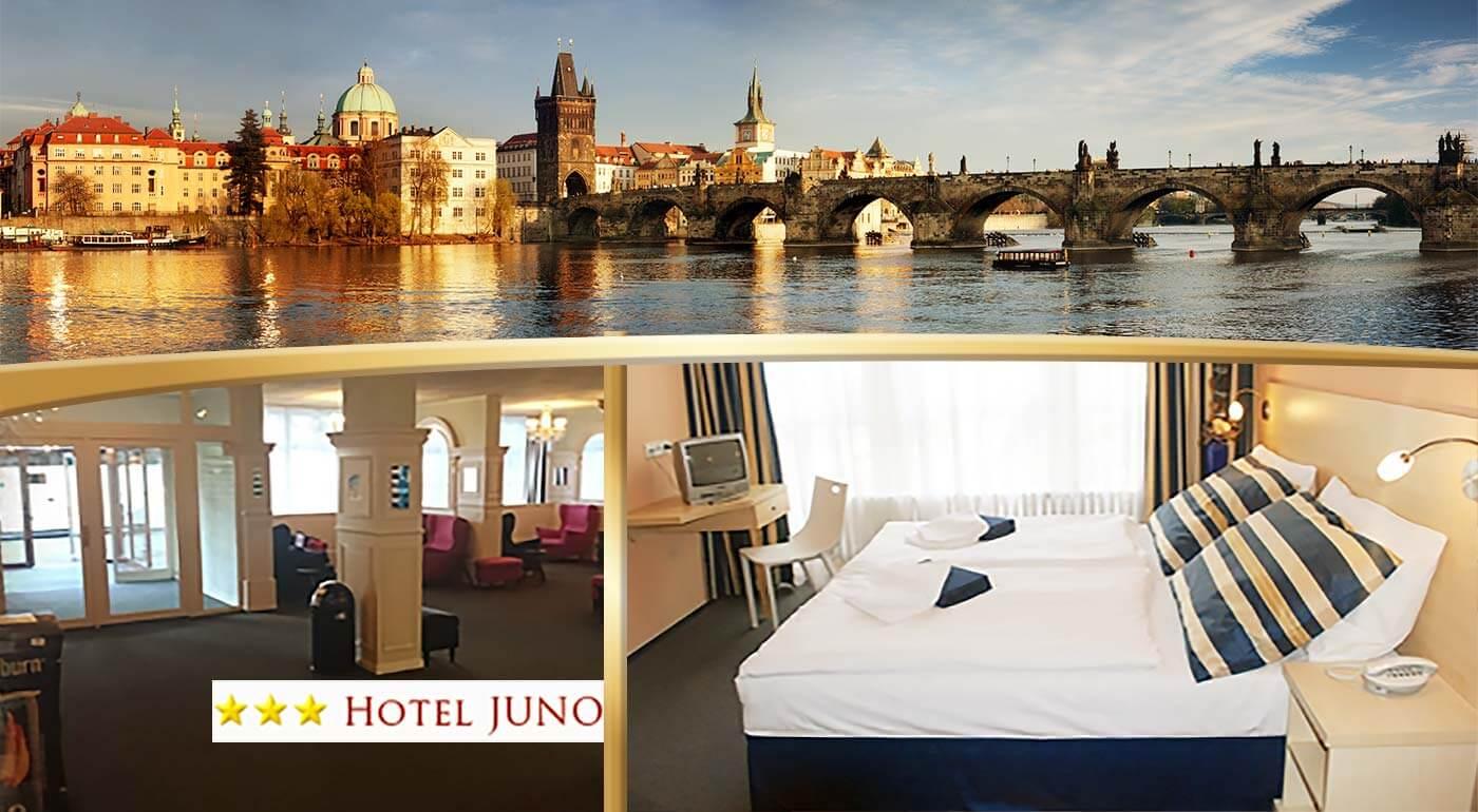Ubytujte sa v Hoteli Juno v Prahe a majte všetky nádhery tohto mesta do 12 minút pri nohách! Len 36,50€ zaplatíte za 2 dni vo dvojici s raňajkami alebo si pobyt môžete aj predĺžiť!