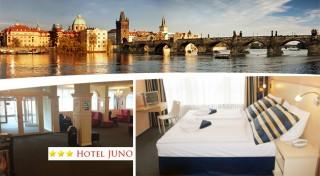 Zľava 38%: Ubytujte sa v Hoteli Juno v Prahe a majte všetky nádhery tohto mesta do 12 minút pri nohách! Len 36,50€ zaplatíte za 2 dni vo dvojici s raňajkami alebo si pobyt môžete aj predĺžiť!