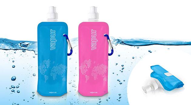 Tri praktické, prenosné a skladacie fľaše VAPUR