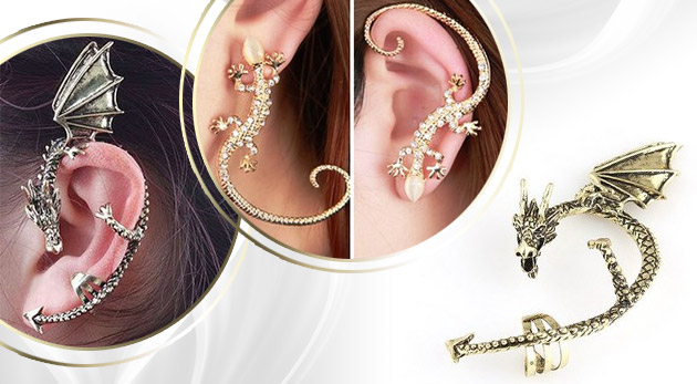 Výnimočná dekorácia na celé ucho - tvar jašterice alebo draka