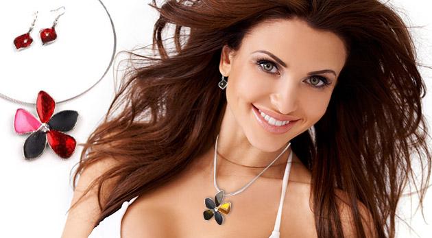 Jemná sada šperkov - náhrdelník a náušnice s motívom kvetu