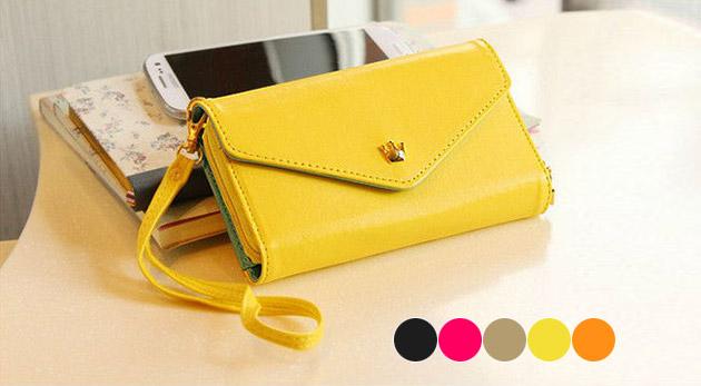 Praktická minikabelka, peňaženka a puzdro na mobil v jednom v piatich módnych farbách