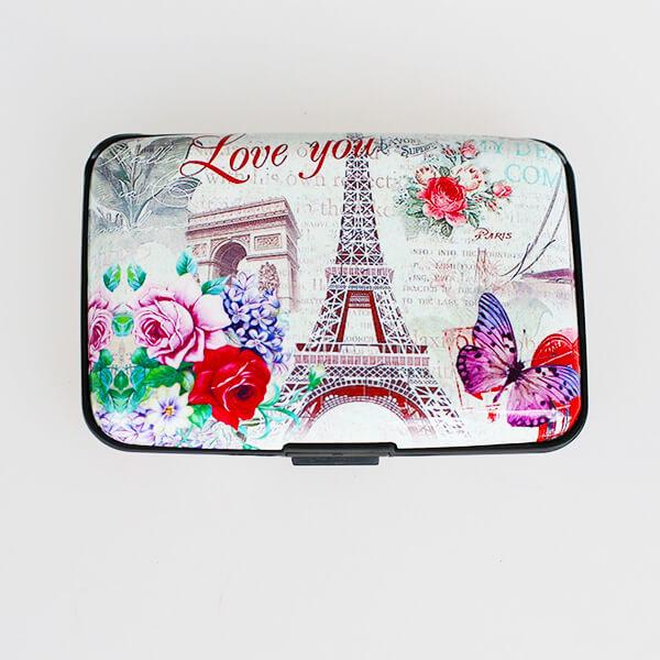 Alumíniové púzdro na doklady - Vintage Paris I love you