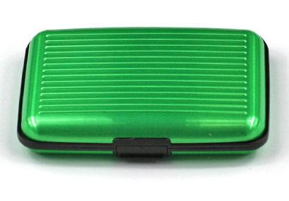 Alumíniové púzdro na doklady - zelené