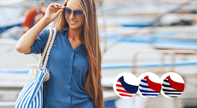 Dámska kabelka v námorníckom štýle z textilu a v 3 farbách
