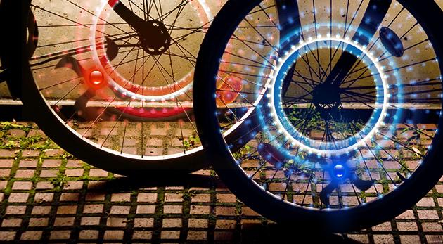 LED svetlá na kolesá bicykla alebo motorky - 2 kusy v balení