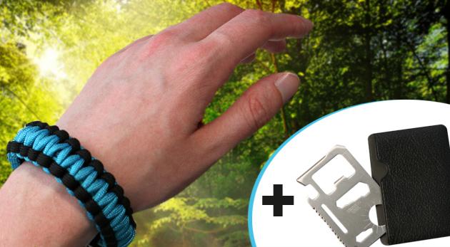 Paracord náramok na prežitie v prírode a multifunkčná karta ako bonus