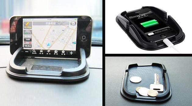 Viacúčelová podložka do auta s držiakom na GPS navigáciu a ďalšie nevyhnutnosti