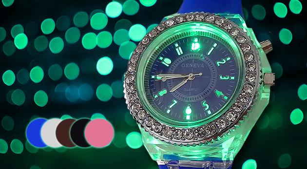 dc3002196 Dámske hodinky Geneva v 5 farbách a s LED podsvietením