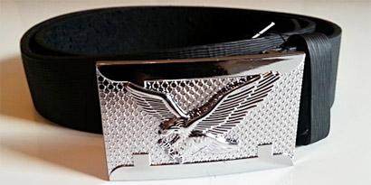 Pánsky kožený opasok s oceľovou prackou - model F