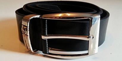 Pánsky kožený opasok s oceľovou prackou - model G