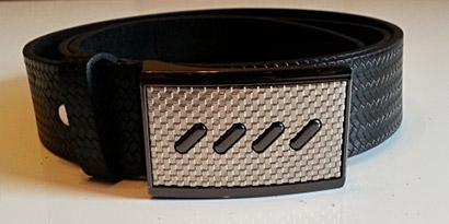 Pánsky kožený opasok s oceľovou prackou - model H