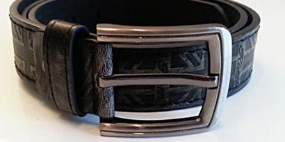 Pánsky kožený opasok s oceľovou prackou - model M
