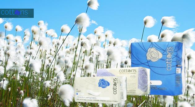 100% bavlnené produkty intímnej hygieny Cottons pre váš maximálny komfort
