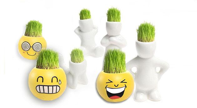 Veselí trávňaci - originálne keramické postavičky alebo smajlíky s bonsajovou trávou