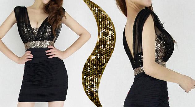 Elegantné puzdrové čierne šaty s flitrami