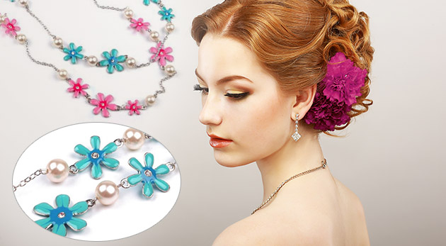 Trendy dlhý náhrdelník s kvetmi - na výber 2 farby