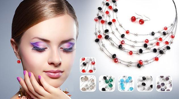 Trendy sada šperkov s náušnicami a náhrdelníkom s brúsenými korálikmi