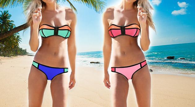 Krásne dámske dvojdielne plavky v dvoch farebných prevedeniach