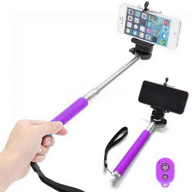 Teleskopický bluetooth selfie držiak - fialový