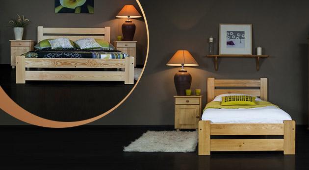 Pohodlné a odolné postele z masívneho borovicového dreva vrátane roštu a možnosťou dokúpenia matracu