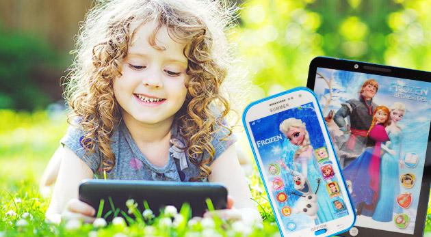 Detský smartfón alebo tablet s motívom Frozen pre učenie angličtiny hravou formou
