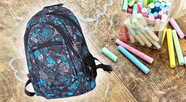 Školský batoh s mixom 60 školských a písacích potrieb