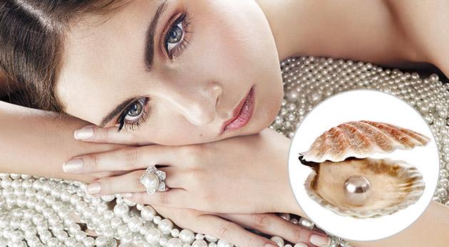 Perla prianí v perlorodke v darčekovom balení vrátane náhrdelníka, náušníc a prsteňa