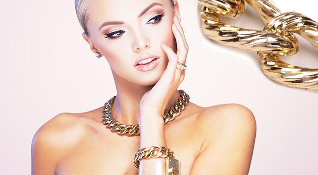 Masívny kovový náhrdelník - reťaz - na výber v striebornej alebo zlatej farbe