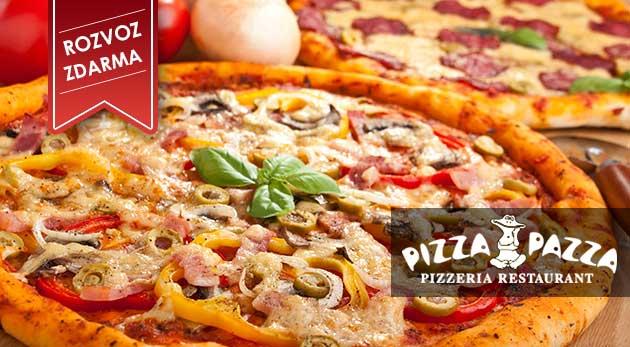Donáška 2 kusov 32 cm pizze podľa vlastného výberu od Pizza Pazza vrátane 2 nealko nápojov