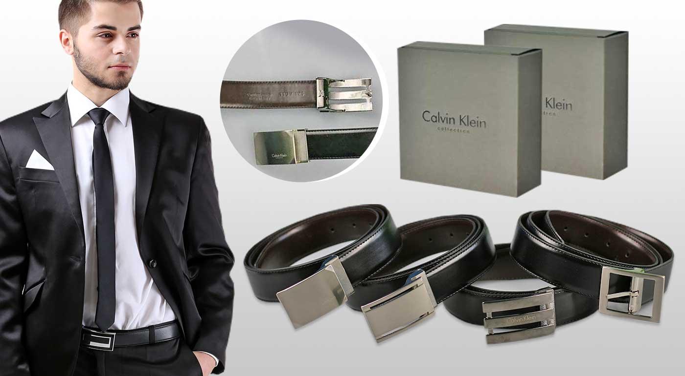 Fotka zľavy: Pánsky kožený opasok značky Calvin Klein len za 29,90 €. Elegantný a štýlový doplnok pre každého gentlemana! Možnosť obojstranného nosenia, na výber zo 4 modelov.