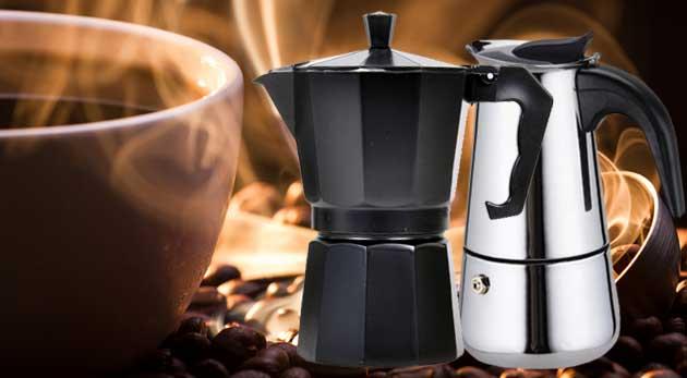 Elegantný taliansky kávovar z nehrdzavejúcej ocele alebo z hliníka